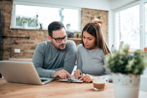 Couple doing finances at home